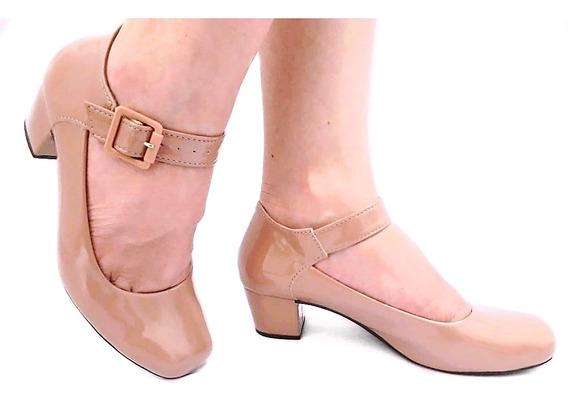 Sapato Preto Feminino Boneca Social Salto Baixo Grosso