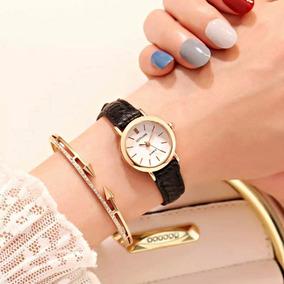 Relógio Feminino Mulher Pequeno Rose Pulseira De Couro