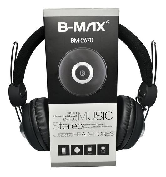 Fone De Ouvido Headphone P2 Com Fio De Nylon Bmax 2670 Preto
