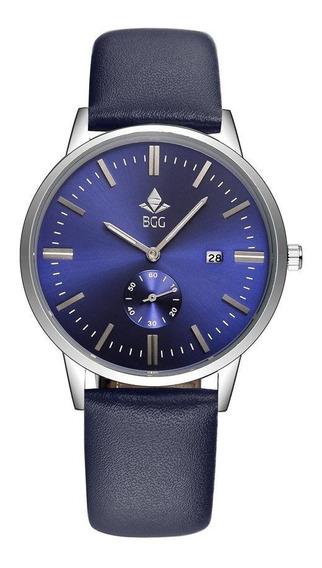 Relógio Bgg Masculino Quartz Pulseira Couro Azul