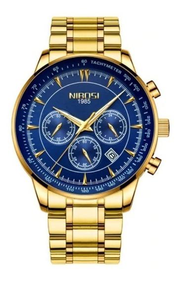 Relógio Masculino Original Luxo Nibosi 2351 Promoção Aço Top