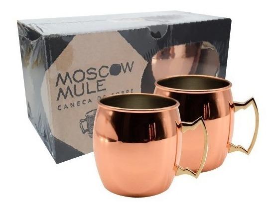 Kit 2 Canecas Moscow Mule Em Cobre 500 Ml Laquedas C/ Caixa