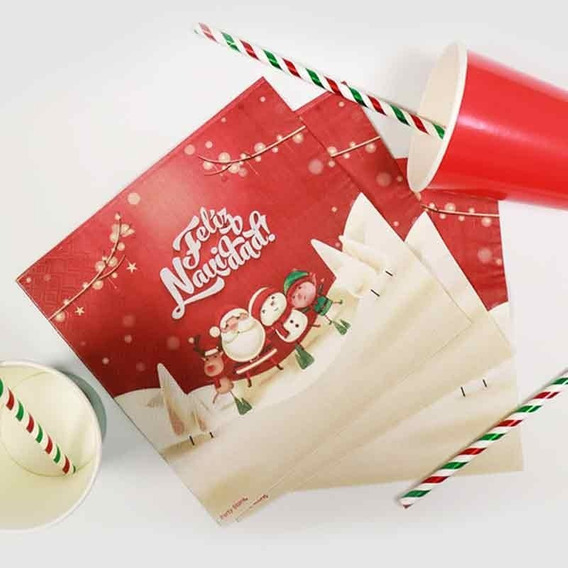 20 Servilletas Feliz Navidad Descartable Fiesta