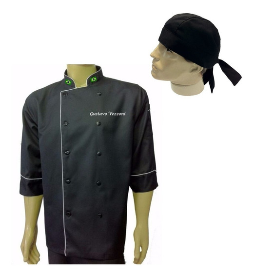 Doma Bandana Preto Chef Gastronomia Cozinheiro Bordado