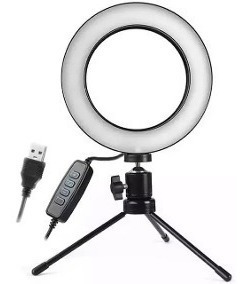 Iluminador Ring Light 16cm Usb Led Misto + Tripé