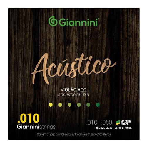Imagem 1 de 3 de Encordoamento Giannini Acústico 010 Para Violão Aço