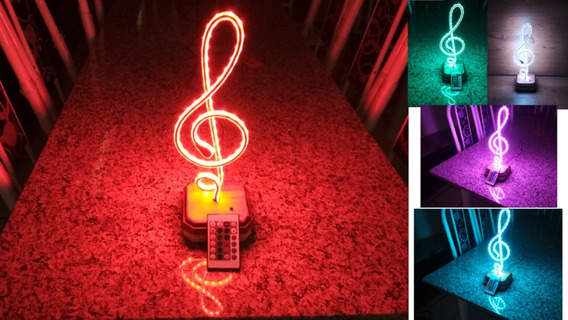 Luminária Abajur Clave De Sol Música Madeira Led Rgb 5050