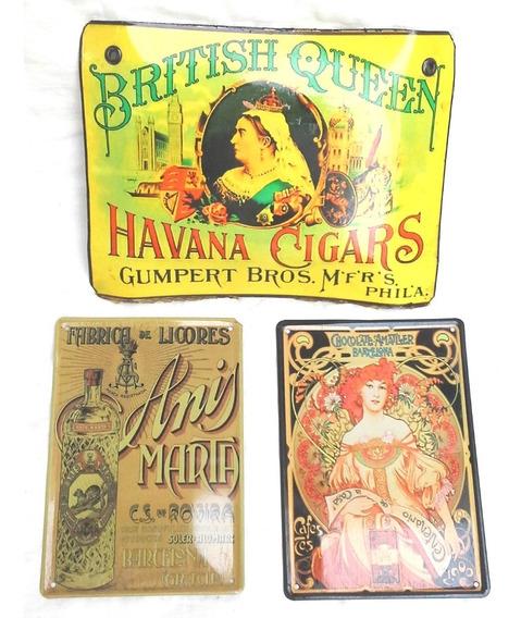 3 Publicidades Coleccionables Cuadritos Enchapados Estilo Antiguo - Havana Cigars + Anis Marta + Chocolate Amatller