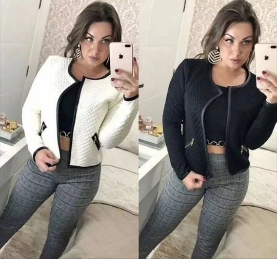 Blazer Casaco Jaqueta Matelassê Feminino Inverno Courino