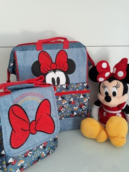 Conjunto Minie -mochila, Lancheira,pelúcia - Disney Original