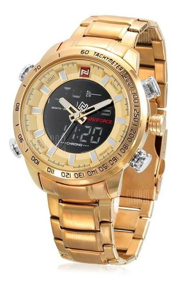 Relógio Naviforce 9093 Dourado Masculino Frete Gratis