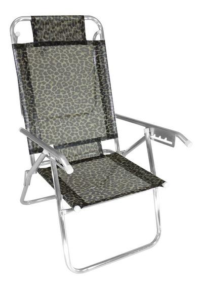 Cadeira De Praia Alumínio 5 Posições Reclinável 100kg Zaka