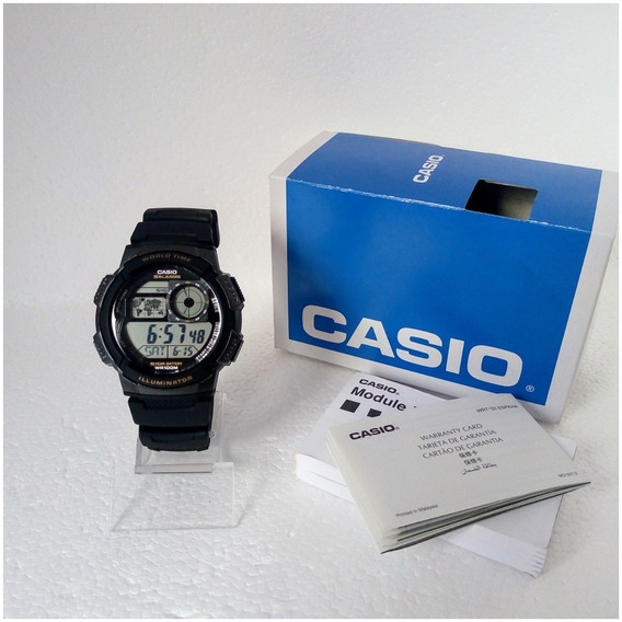 Relógio Casio Word Time Ae1000w Digita Original Pv Dagua