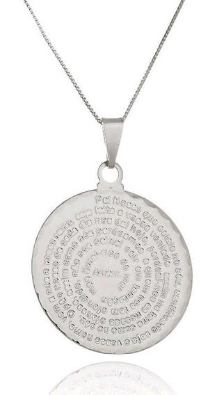 Colar Medalha Oração Pai Nosso (ródio Branco, 45 Cm)