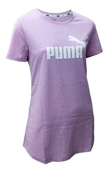 Remera Puma Ess+ Logo Heather Tee 285212746 Mujer