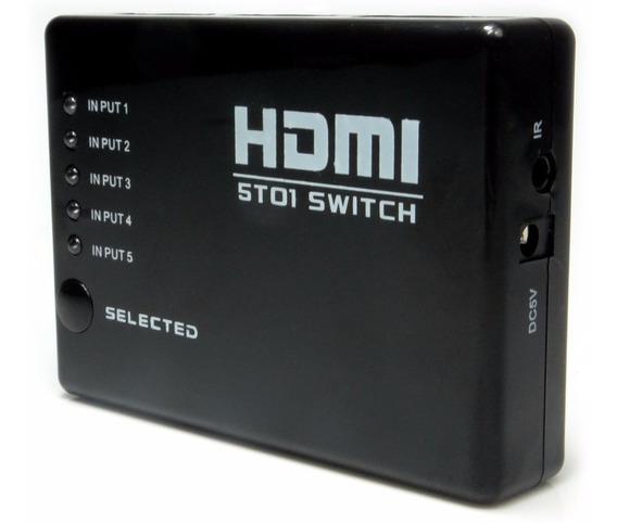 Switch Hdmi 5x1 Com Controle Novo