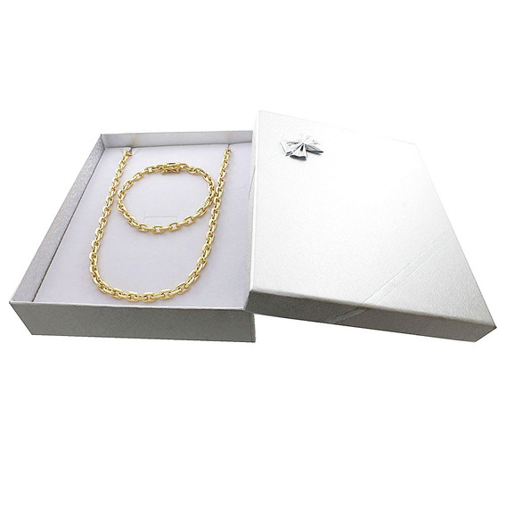 Corrente Banhada A Ouro18 Kilates + Pulseira + Box Gar.1 Ano