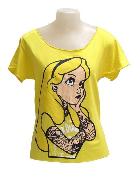 Camiseta Alice No Pais Das Maravilhas Amarela Tamanho Unico