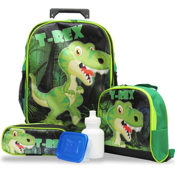 Kit Escolar Infantil Mochila Dinossauro Rodinhas T Rex Tam G