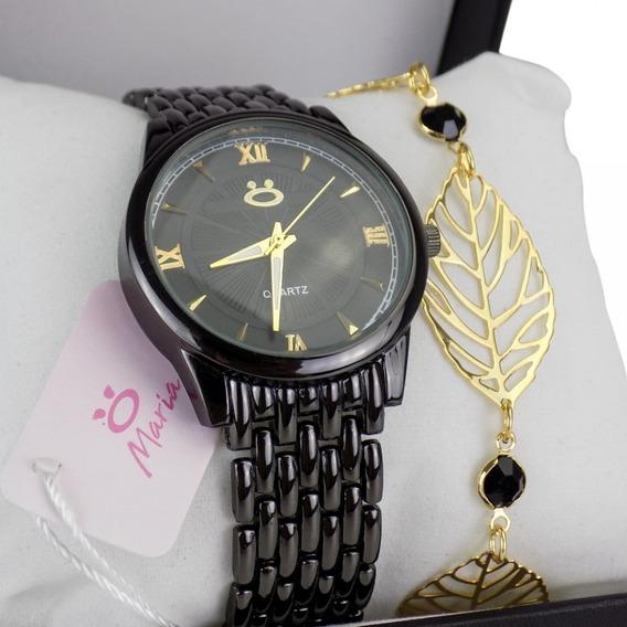 Relógio Feminino Original +colar + Brincos +pulseira - 3a11