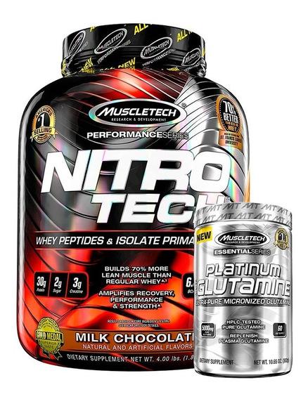 Nitro Tech 3,97 Lbs + Glutamina Muscletech Platinum 302 G