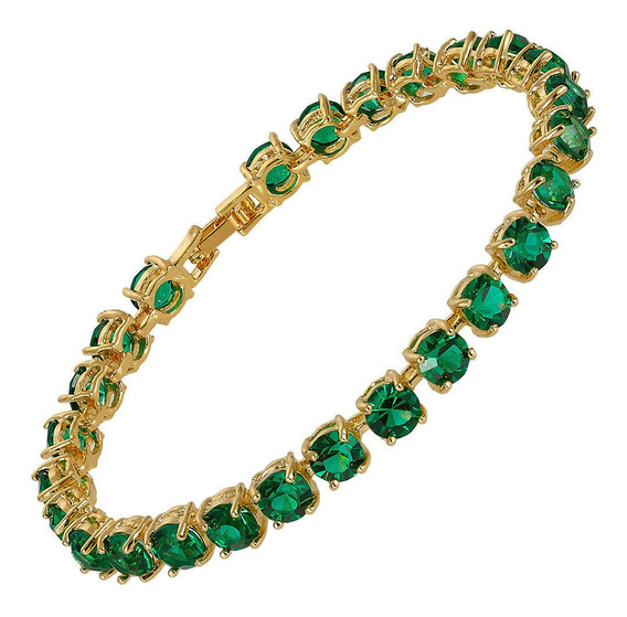 Esmeralda Verde Neon Joia Pulseira Em Ouro 24k