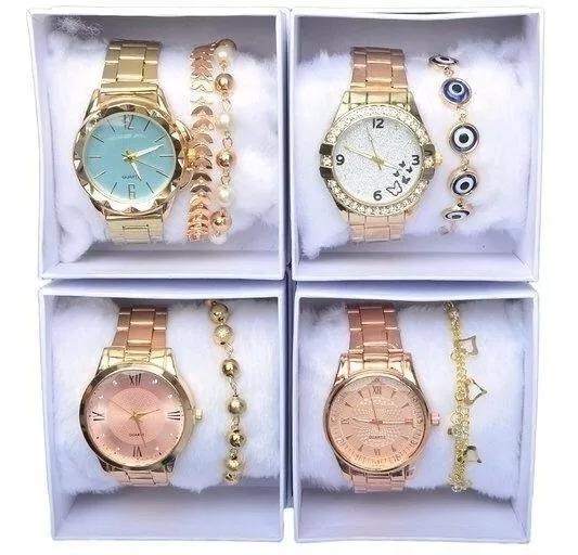 Kit C/5 Relógios+ Caixa+ Pulseiras Atacado Para Revenda Lux