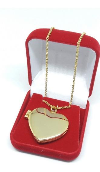 Colar Relicário Pingente Coração Banho Ouro 18k + Caixinha