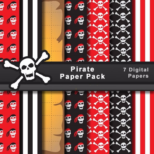 Kit Imprimible Pack Fondos Piratas Clipart Cod 14