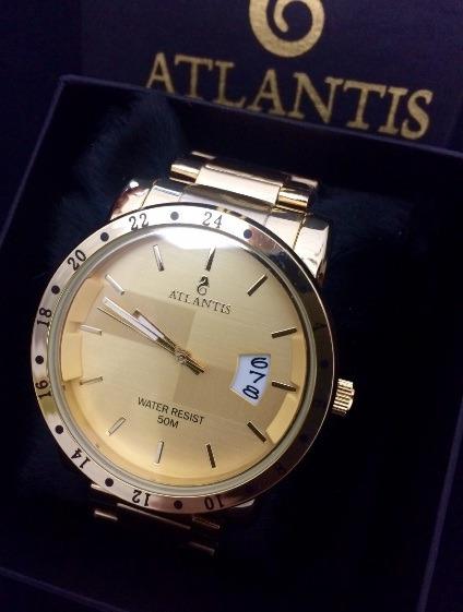 Relogio Social Masculino Atlantis G3242 Dourado