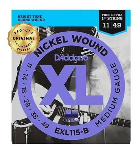Encordoamento Daddario 011 Guitarra Exl 115b +1a Corda Extra