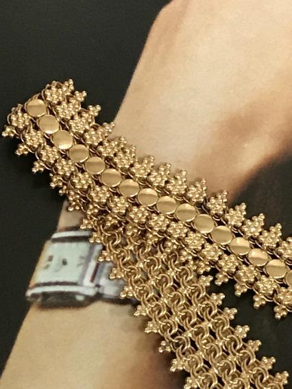Pulseira Em Ouro Português 21k, Peso: 29,9 Gramas, 18,5cm