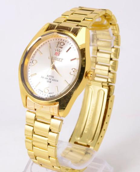 Relógio Feminino De Pulso Dourado Orimet Barato Super Pormoç