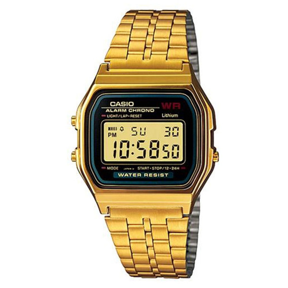 Relógio Unissex Digital Preto Dourado Casio A159wgea-1df