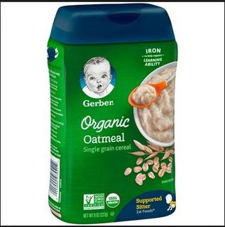Papillas Avena Gerber Para Bebe Organico
