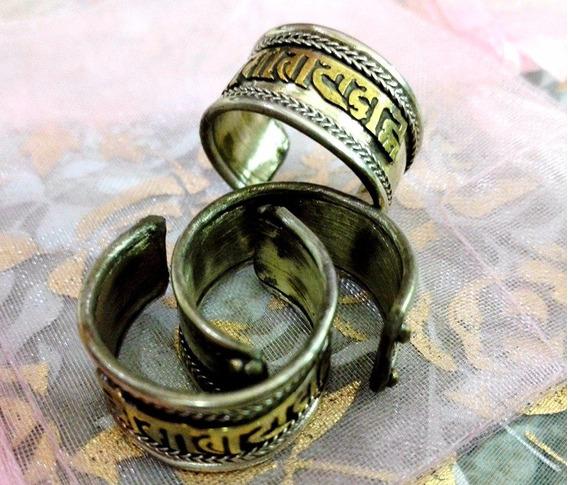 Anel Tibetano Ajustável De Prata Artesanal Em Ouro Velho