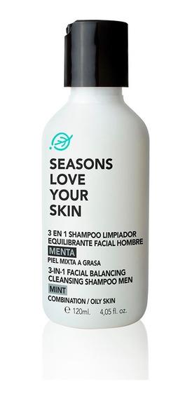 3en1 Shampoo Limpiador Equilibrante Facial Hombre Menta 120m
