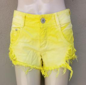 Short Hotpants Cintura Alta Em Sarja
