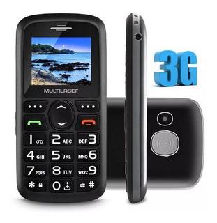 Celular Preto Bluetooth 3g + Base Carregador P9091 Simples