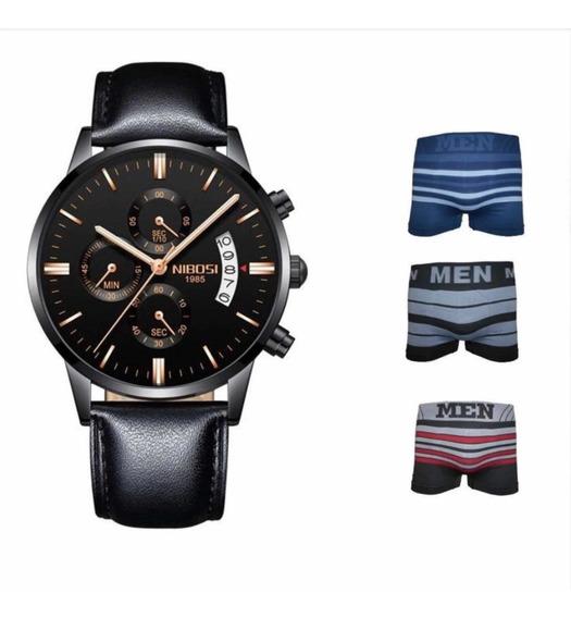 Relógio Masculino Nibosi + Brindes Promoção Limitada