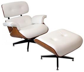 Poltrona Charles Eames Com Puff - Branca & Marrom Escuro