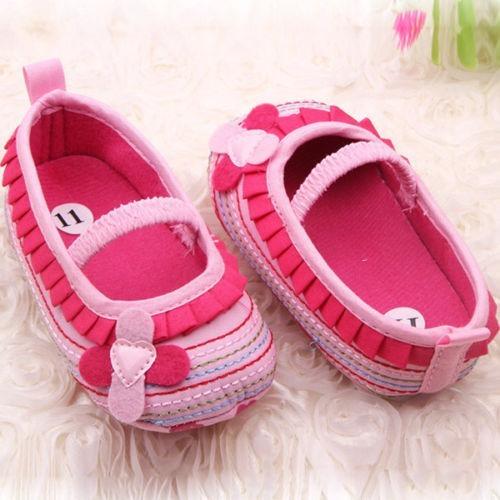 Sapato Flor Babados Caminhada Sapatos 0-4m-rosa Bebê Macio