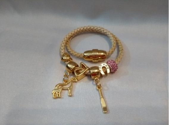 Pulseira Bracelete Flor De Lis Com Couro Semi Joia Numero 15