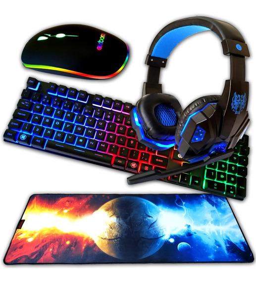 Teclado Gamer Com Leds Mouse Gamer Com Leds Heat Set Gamer E Mousepad 80x30 Cm