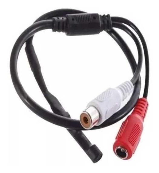 Kit 1 Microfone Para Cam Cftv Dvr 40m + 2 Conectores Rca