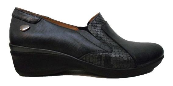 Mocasin Zapato Cavatini Cuero Mujer Con Taquito En Pinkerton