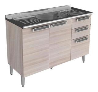 Balcão Para Cozinha 3 Portas 2 Gavetas Com Pia Fc