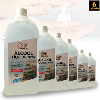 Alcool Liquido 70 Orbi 1000ml - 6 Unidades
