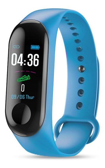 Smartwatch Medición De Ritmo Cardiaco Karstcave M3 Azul Ip67
