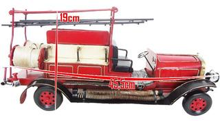 Caminhao Carro De Bombeiro Vintage Retro Metal 45,5cm